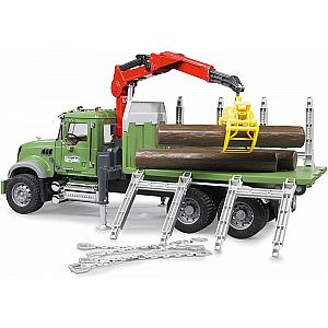 Bruder Mack Granite timber truck with loading crane and 3 trunks