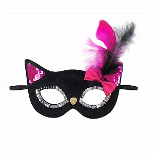 Glitter Black Kitty Mask with Feather