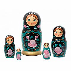 Nesting Doll - Teal Classical Art 5 Piece